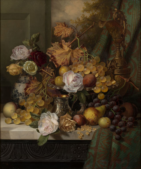 Still Life with Roses & Fruit on a Marble Ledge