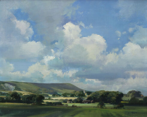 'Berwick Church and Firle Beacon from Milton Road, East Sussex'